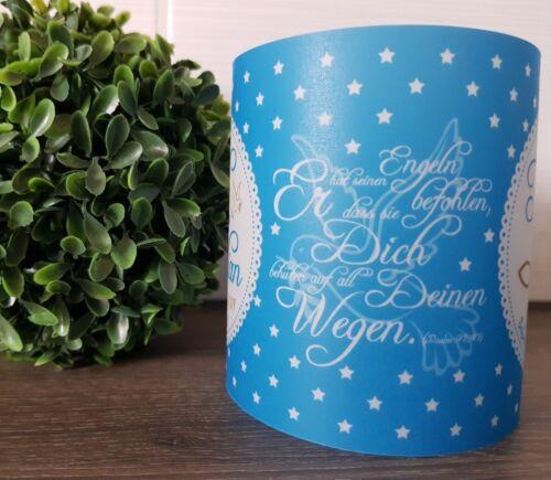4x Windlicht Taufe Tischlicht Tischdeko Deko personalisierbar Namen /& Datum blau