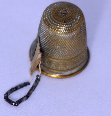 ANTIQUEc 1870's~~THIMBLE style TAPE MEASURE ~~ FIGURAL,METAL,with BEADED PULL