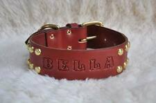 """Extra Wide & Long Leather Large  Dog Custom Collar Personalized 2"""" Wide w/ Spots"""