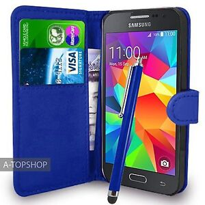 new york ec1c5 0b610 Details about Blue Wallet Case PU Leather Book Cover For Samsung Galaxy  Core Prime G360 G361