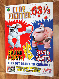 ClayFighter-63-Game-Store-Rare-Promo-Vintage-Poster-Nintendo-64-N64-1997