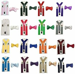Kid-Children-Boy-jambes-Bow-Tie-2-PC-Set-Suspender-Wedding-UK
