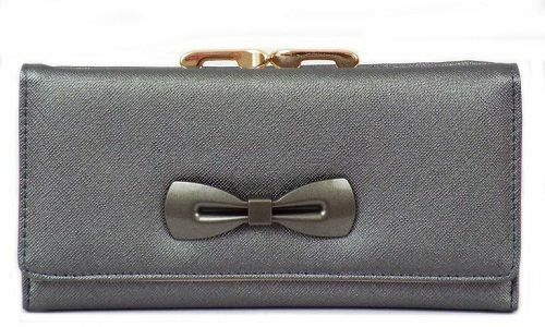 Ladies Ella Metallic Purse With Bow 3 Colours 73229 Great Price!