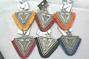 Vintage-Handmade-Tibetan-silver-Tribal-hippie-boho-curtain-Triangle-Earring