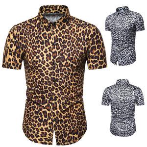 Men-Leopard-Print-Short-Sleeve-Shirt-Summer-Beach-Party-Slim-Fit-T-Shirts-Tops