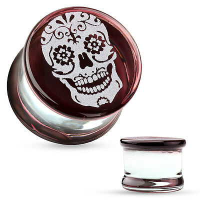 PAIR Sugar Skull Engraved Pyrex Glass Double Flare Plugs Gauges Body Jewelry