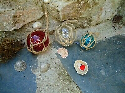 3 X Fishing Boat Net Floats Glass Baubles Christmas Tree Nautical Decorations