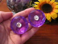 Glam Purple Faceted Acrylic Gem Jewel Shaped Magnet Set Of 2 W/bling & Bag