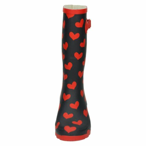Ladies /'X1210/' Navy Blue /& Red Heart Print Wellies