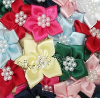 Quality Christmas Ribbon Poinsettias Flowers 4cm Card Crafts Sewing Haberdashery
