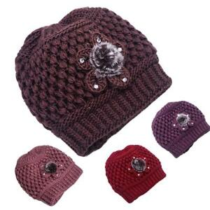 Image is loading Autumn-Winter-Mother-Elderly-Grandmother-Flower-Knitted-Hat - 07a9ae5e5d76