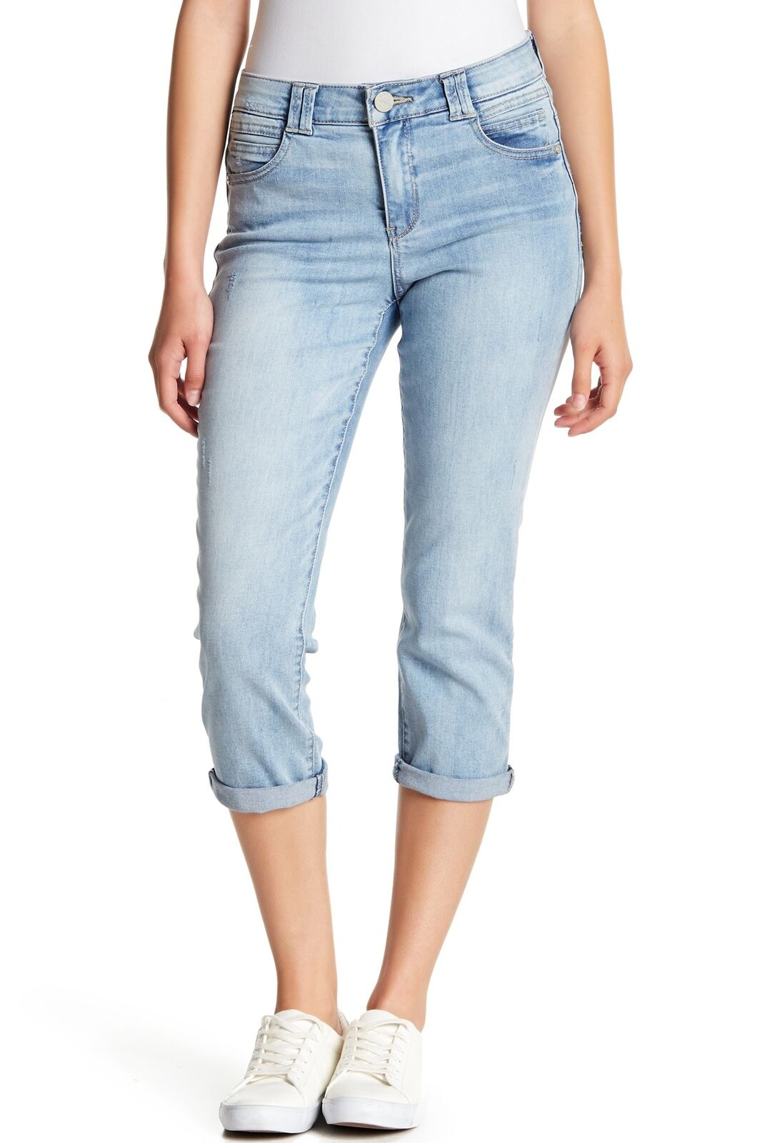 DEMOCRACY   High Rise Cropped Petite Jeans   Light bluee   10P