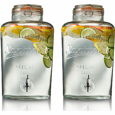 Set Of 2 Large 8 Litre Drink Dispenser Clip Top Storage Ice Beverage Jar Jug Tap
