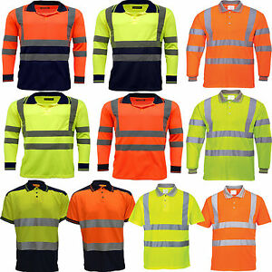 Hi-Viz-VIS-Alta-Visibilidad-De-Largo-Manga-Corta-Polo-Camisa-dos-tonos-de-contraste-de-tamano