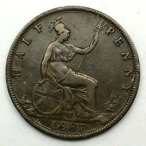 1887-GREAT-BRITAIN-VICTORIA-1-2-PENNY-BRONZE-COIN-Error-In-Date-KM-754