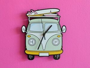 Image Is Loading VW Camper Van Cartoon Wall Clock