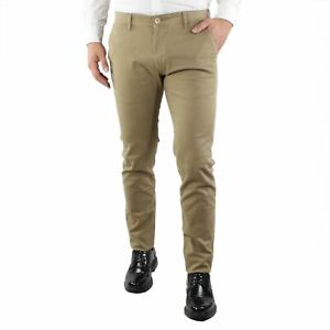 Pantaloni-Uomo-Invernali-Chino-Slim-Fit-Pantalone-Tasca-America-Elegante-Beige