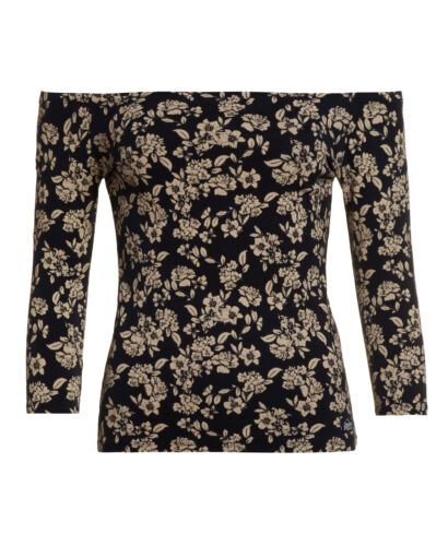 Superdry Top Unique Womens Sample Navy New Essential Spalle Scatter Floral AqfPUwZn
