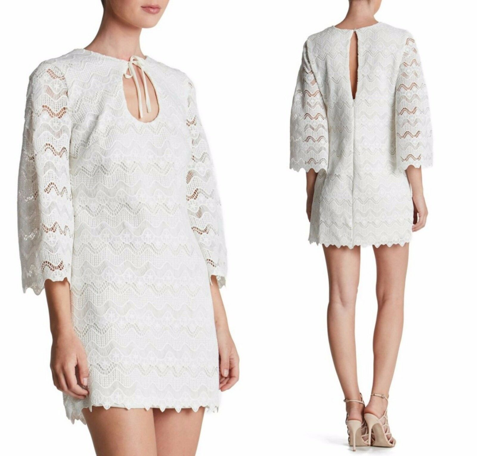 NEW Dress The Population 'Staci' Crochet Shift Dress White [SZ Small]  N781