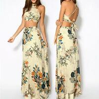 Women Bandage Floral Party High Waist Crop Top Long Maxi Skirt Dress 2 Piece Set