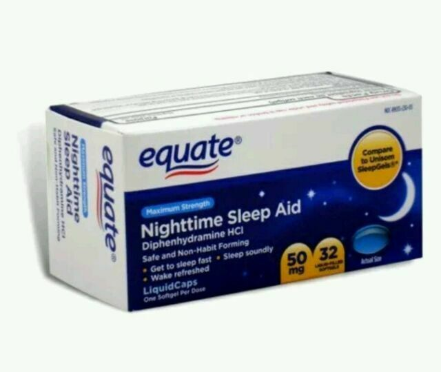 EQUATE MAXIMUM STRENGTH NIGHTTIME SLEEP AID SOFTGELS 50 MG 3