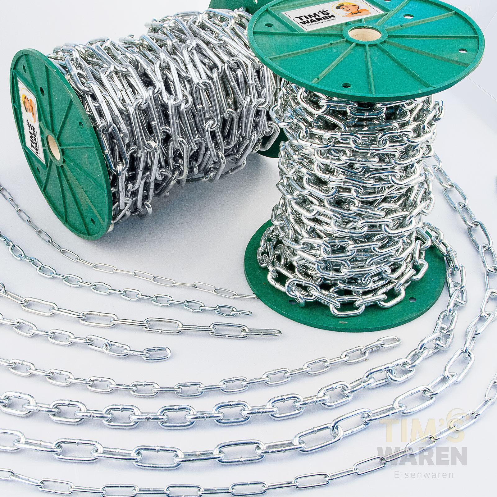 Stahlkette verzinkt Rundstahlkette Eisenkette kurzgliedrig & langgliedrig TLK