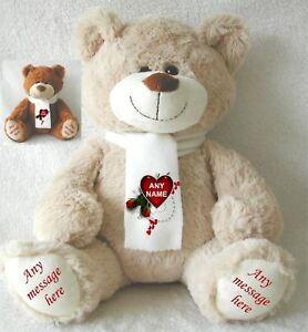 PERSONALISED TEDDY BEAR EXCLUSIVE 34CM TOP TO TOE BROWN/BEIGE VALENTINES DAY