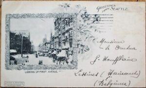Seattle-WA-1901-Postcard-First-Avenue-Downtown-Washington-State