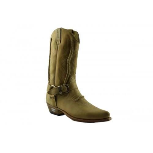 Loblan 2476 Tan Beige Leather Cowboy Boots Handmade Classic Western Buckle Boot