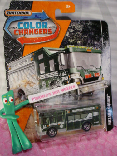 HAZARD SQUAD☆green;gray☆FIRE RESCUE HAZMAT☆2018 MATCHBOX COLOR CHANGERS