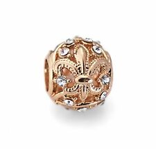 Gold Fleur De Lis European Bead With Rhinestones For European Charm Bracelets