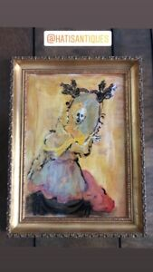 ANTIQUE VICTORIAN LADY OIL PAINTING ON CANVAS GOLD GILDED FRAME WOMAN