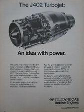 8/1975 PUB TELEDYNE CAE TURBINE ENGINES HARPOON TEDS J402 TURBOJET ENGINE AD