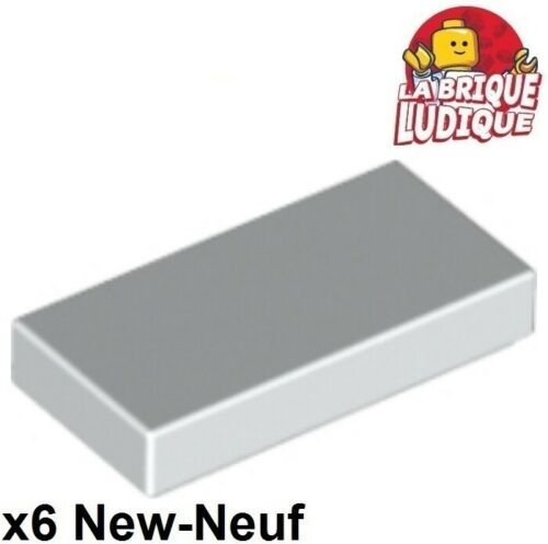 Lego 6x Tile Plate Smooth 1x2 With Groove White//White 3069b New