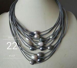 15-Straenge-grau-Leder-Seil-amp-11-13mm-weiss-und-grau-Perlenkette-17-20-Zoll