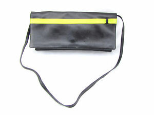SERGIO-ROSSI-Black-Lime-Green-Yellow-Stripe-Butter-Soft-Leather-Clutch-Bag-Italy