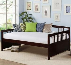 Full Size Daybed Wood Espresso Finish Frame Day Bed Wooden Sofa