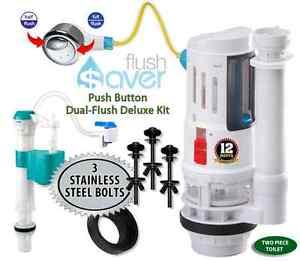 Flushsaver Push Button Dual Flush Kit Fill Valve 3