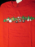 Snoopy On Motorcycle While Gang Building Snowmen Red T-shirt