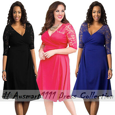 Floral Lace 3/4 Sleeve V Neck Plus Size Wrap Summer Skater Casual Party Dress