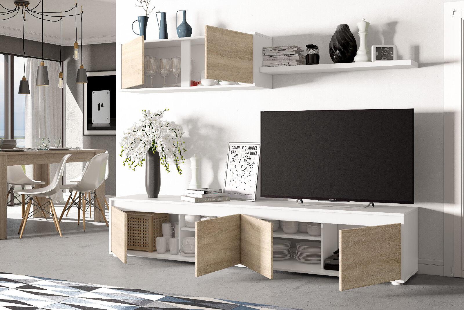 Mueble para salon comedor compuesto de varios modulos en color roble ...