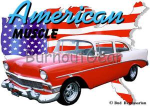 1956 Red Chevy 210 Sedan b Custom Hot Rod Garage T-Shirt 56 Muscle Car Tee/'s