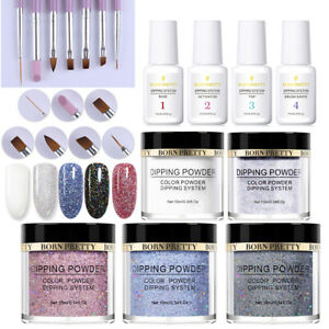 BORN-PRETTY-Nail-Art-Dipping-Powder-System-Liquid-with-Powder-Brush-Kit-No-Gel