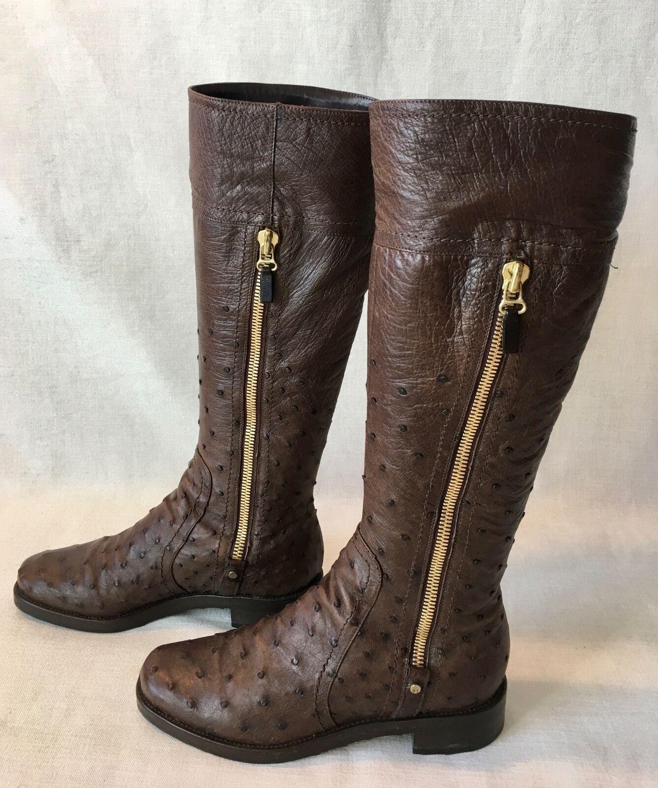 Sergio Rossi Dark Chocolate Brown Ostrich Ostrich Brown Duble Gold Zipper Boots.. Sz 38. Rare 550896