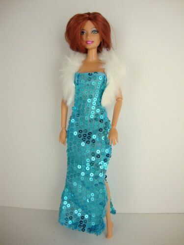 Set of 2 Sequined Gowns w//Slits in Purple /& Blue White Fur Jacket