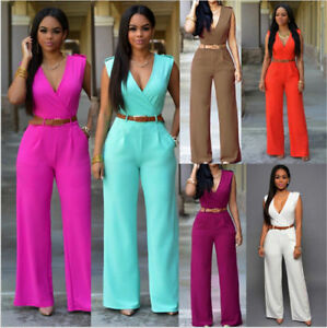 613b5bc702 Women V-neck high waist wide leg pants Palazzo Pants Suit All in one ...