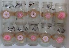 10 Burlap Pink  Mason Jar  Country Rustic Wedding Party Decorations Wraps S4