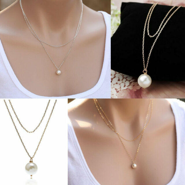 Chic Gold Silver Double Chain Charm Pearl Beads Pendant Necklace Fashion Jewelry