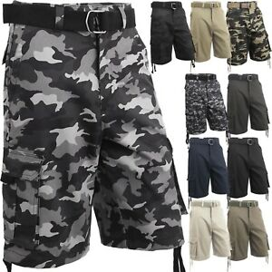 7a00d544cf6 Mens Cargo Shorts with Belt 30 52 Twill Short Camo Pants Summer ...