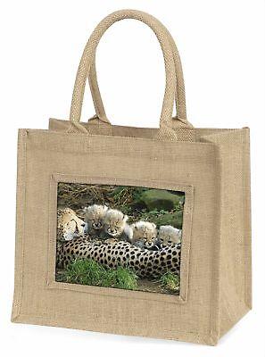 Gepard und Neugeborene Große natürliche jute-einkaufstasche Weihnachten